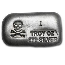 1 oz Silver Bar - Skull & Bones (PG&G)