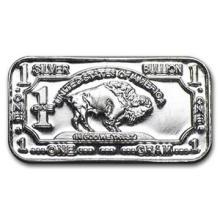 1 gram Silver Bar - Buffalo