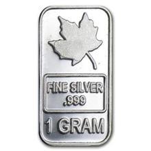1 gram Silver Bar - Maple Leaf
