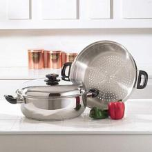 Precise Heat T304 Stainless Steel Oversized Skillet, Steamer and Cover