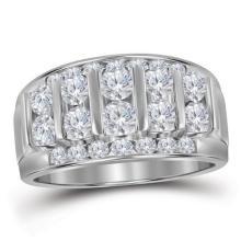 14kt White Gold Mens Round Channel-set Diamond Raised Wedding Band 1.00 Cttw