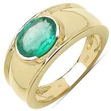 1.60 Carat Genuine Zambian Emerald 14K Yellow Gold Ring