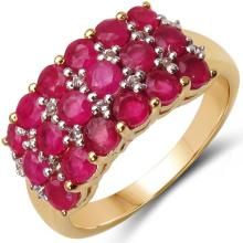 14K Yellow Gold Plated 2.30 Carat Genuine Ruby & White Topaz .925 Sterling Silver Ring