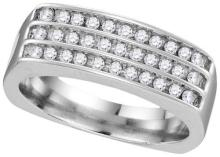 10kt White Gold Mens Round Diamond Triple Row Wedding Anniversary Band Ring 1/2 Cttw