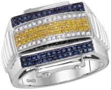 10kt White Gold Mens Round Yellow Colored Diamond Domed Cluster Ribbed Ring 1/2 Cttw