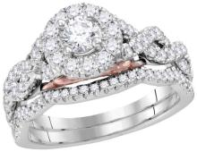 14kt White Gold Womens Round Diamond Solitaire Bellissimo Bridal Wedding Ring Set 1.00 Cttw