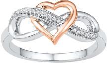 10kt White Gold Womens Round Diamond Rose-tone Heart Infinity Ring 1/20 Cttw