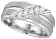 10kt White Gold Mens Round Diamond Diagonal Row Ridged Matte Wedding Band Ring 1/4 Cttw