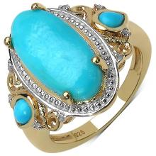 14K Yellow Gold Plated 4.10 ct. t.w. Sleeping Beauty Turquoise and White Topaz Ring in Sterling Silver