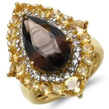 14K Yellow Gold Plated 7.59 Carat Genuine Smoky Topaz, Citrine & White Topaz .925 Sterling Silver Ring