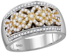 14kt White Yellow-tone Gold Womens Round Diamond Flower Double Row Band 1/2 Cttw