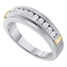 10kt White Two-tone Gold Mens Round Channel-set Diamond Single Row Wedding Band 1/2 Cttw