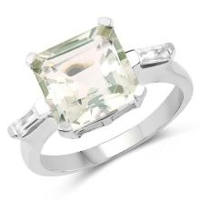 4.76 Carat Genuine Green Amethyst & White Topaz .925 Sterling Silver Ring