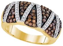 10kt Yellow Gold Womens Round Cognac-brown Colored Diamond Striped Band 3/4 Cttw