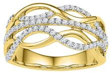 10kt Yellow Gold Womens Round Diamond Twist Woven Strand Band 5/8 Cttw
