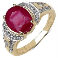 3.38 Carat Glass Filled Ruby Ring with 0.42 ct. t.w. Multi-Gems in 10K Yellow Gold