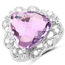 8.86 Carat Genuine Amethyst & White Zircon .925 Sterling Silver Ring