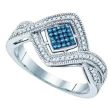 10kt White Gold Womens Round Blue Colored Diamond Square Frame Cluster Ring 1/6 Cttw