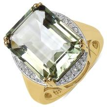14K Yellow Gold Plated 11.59 Carat Genuine Green Amethyst & White Topaz .925 Streling Silver Ring