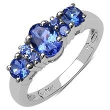 1.37 Carat Genuine Tanzanite .925 Sterling Silver Ring