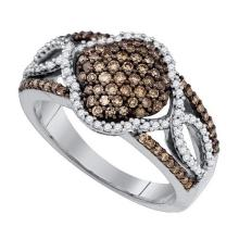 10kt White Gold Womens Round Cognac-brown Colored Diamond Quadrefoil Cluster Ring 5/8 Cttw