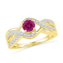 10kt Yellow Gold Womens Round Lab-Created Pink Sapphire Solitaire Diamond Twist Ring 1/10 Cttw