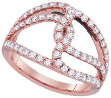 18kt Rose Gold Womens Round Diamond Open Woven Strand Band 3/4 Cttw
