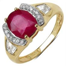 2.48 Carat Glass Filled Ruby Ring with 0.42 ct. t.w. Multi-Gems in 10K Yellow Gold