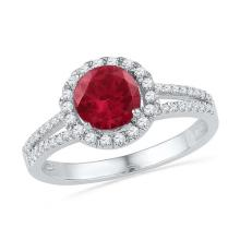 10kt White Gold Womens Round Lab-Created Ruby Solitaire Diamond Halo Ring 1-5/8 Cttw
