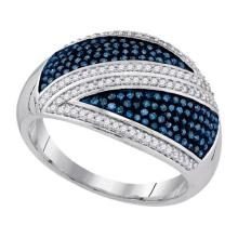 10kt White Gold Womens Round Blue Colored Diamond Crossover Stripe Band 1/2 Cttw