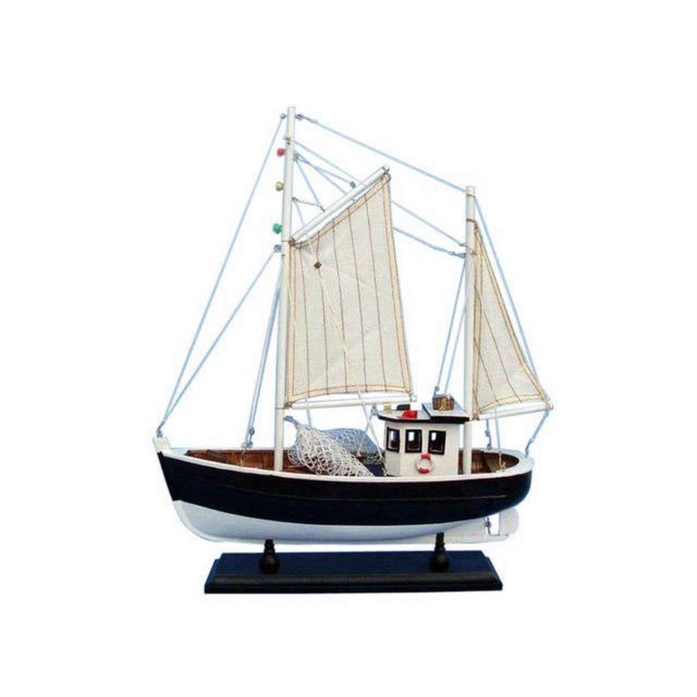 Wooden Keel Over Model Fishing Boat 18in.