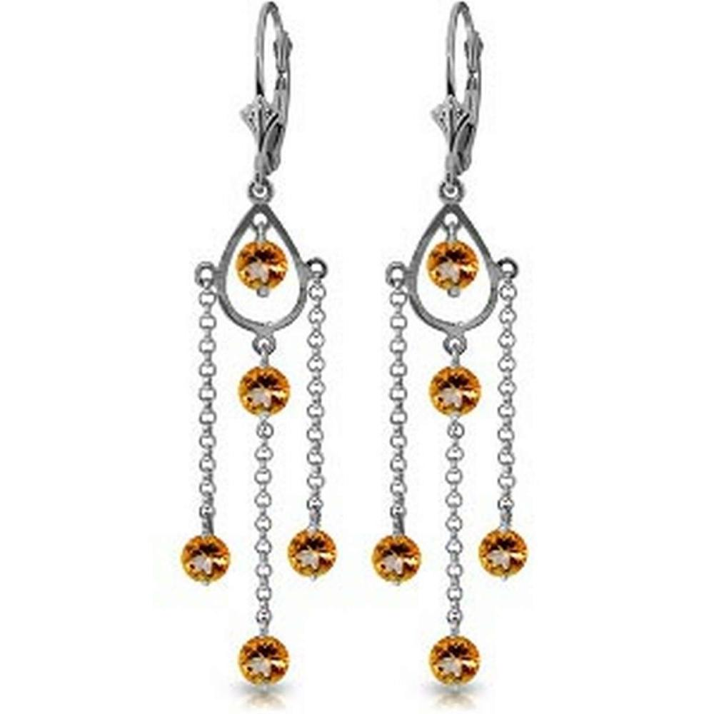 3 Carat 14K Solid White Gold Walking In The Sand Citrine Earrings