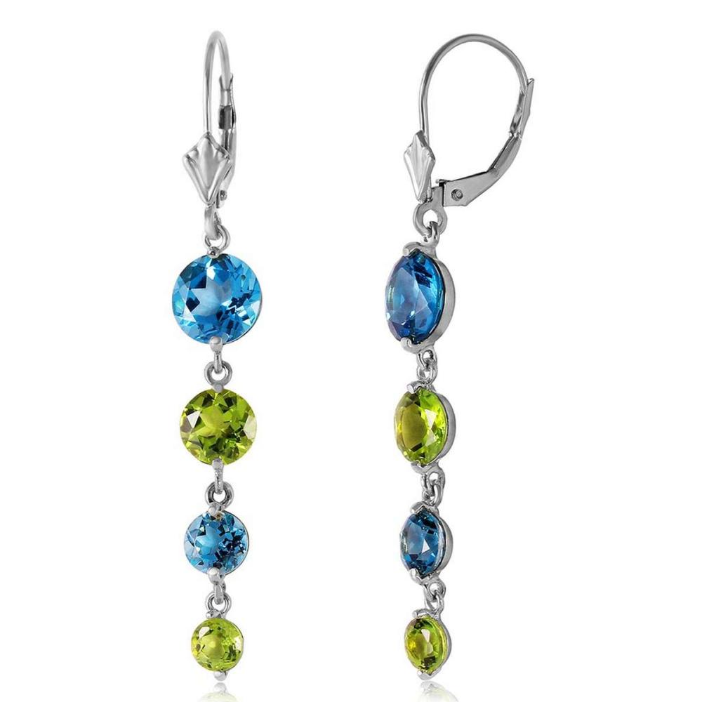 7.8 Carat 14K Solid White Gold Delightful Notes Blue Topaz Peridot Earrings