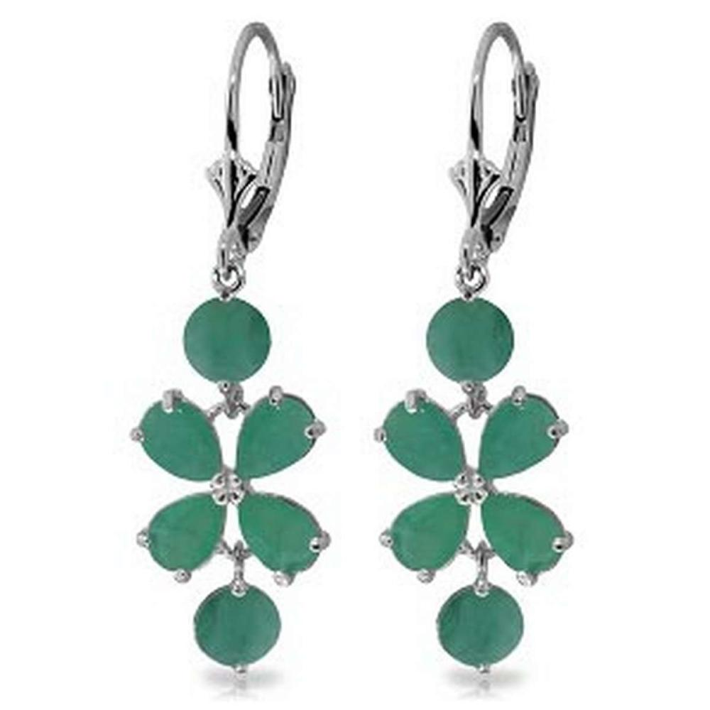 5.32 Carat 14K Solid White Gold Chandelier Earrings Natural Emerald