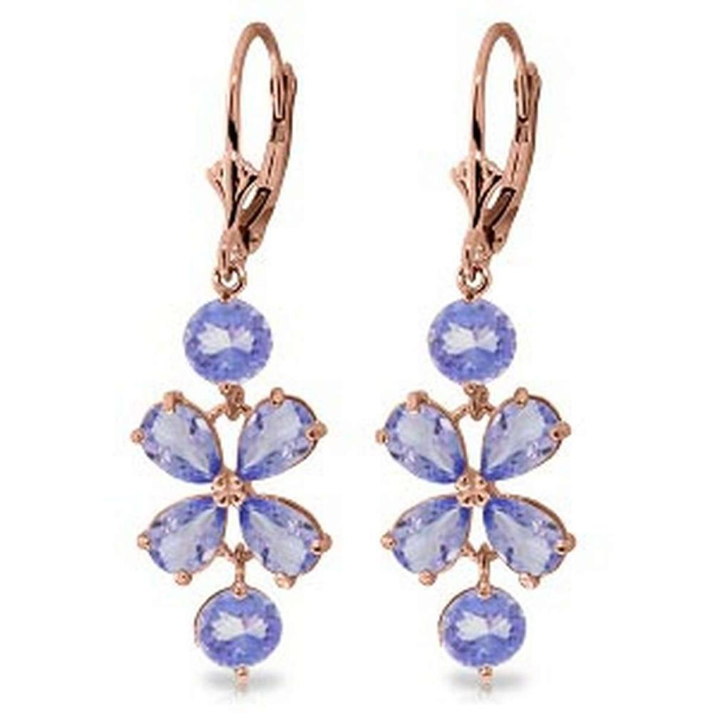 5.32 CTW 14K Solid Rose Gold Tanzanite Flower Earrings