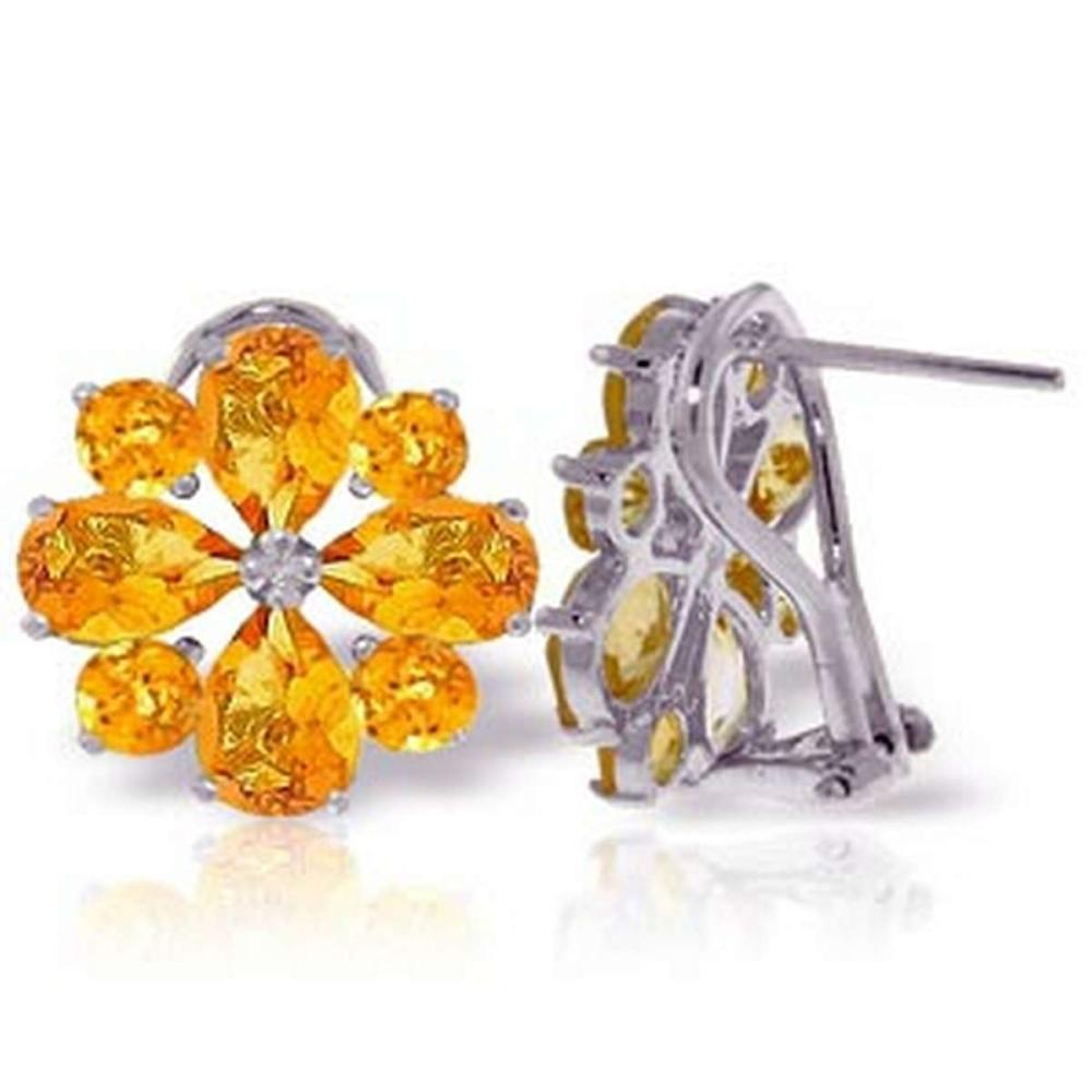4.85 Carat 14K Solid White Gold Love Accents Citrine Earrings