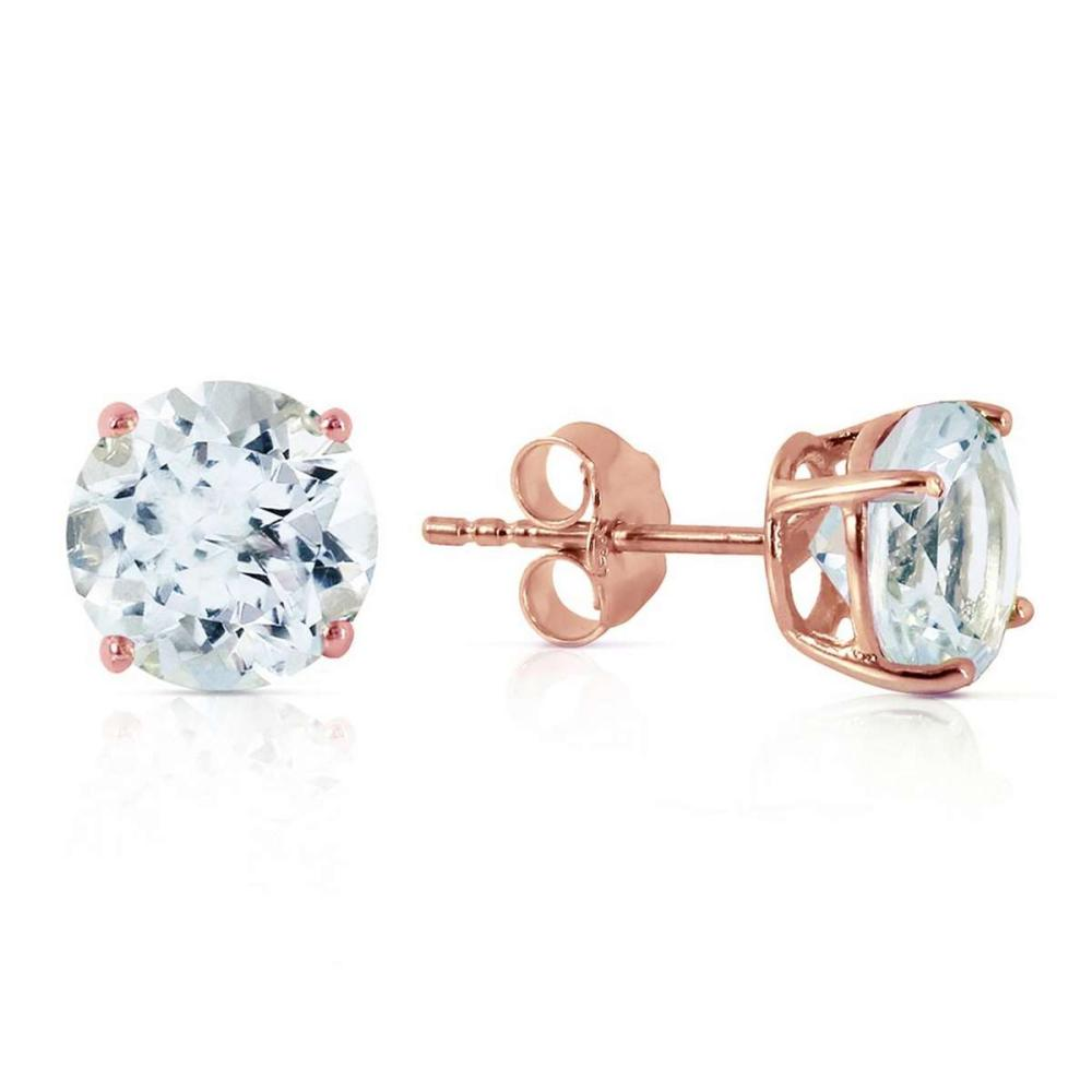 3.1 Carat 14K Solid Rose Gold Anna Aquamarine Stud Earrings