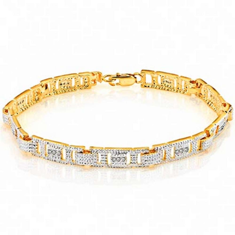 14K Yellow Gold Plated 0.12 Carat Genuine White Diamond .925 Sterling Silver Bracelet