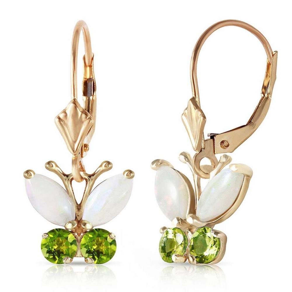 1.39 Carat 14K Solid Gold Butterfly Earrings Opal Peridot