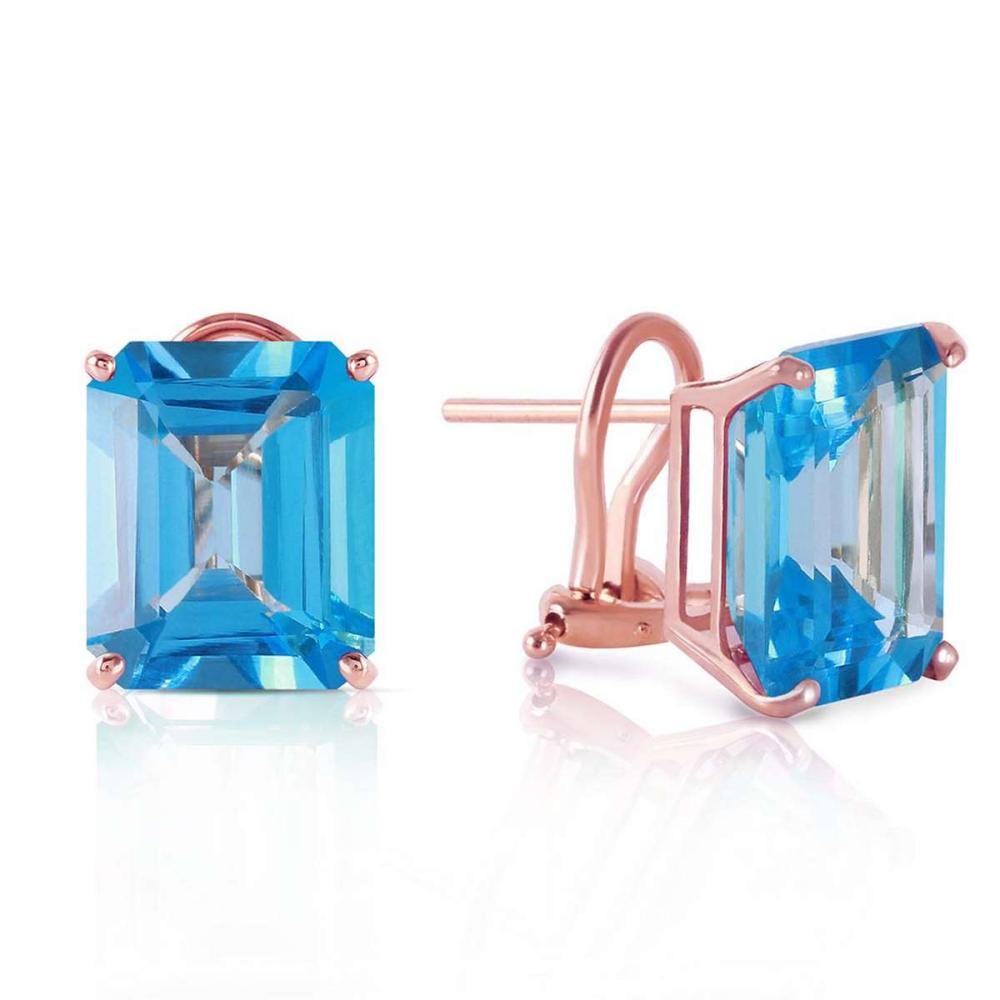 14 Carat 14K Solid Rose Gold Octagon Blue Topaz Earrings