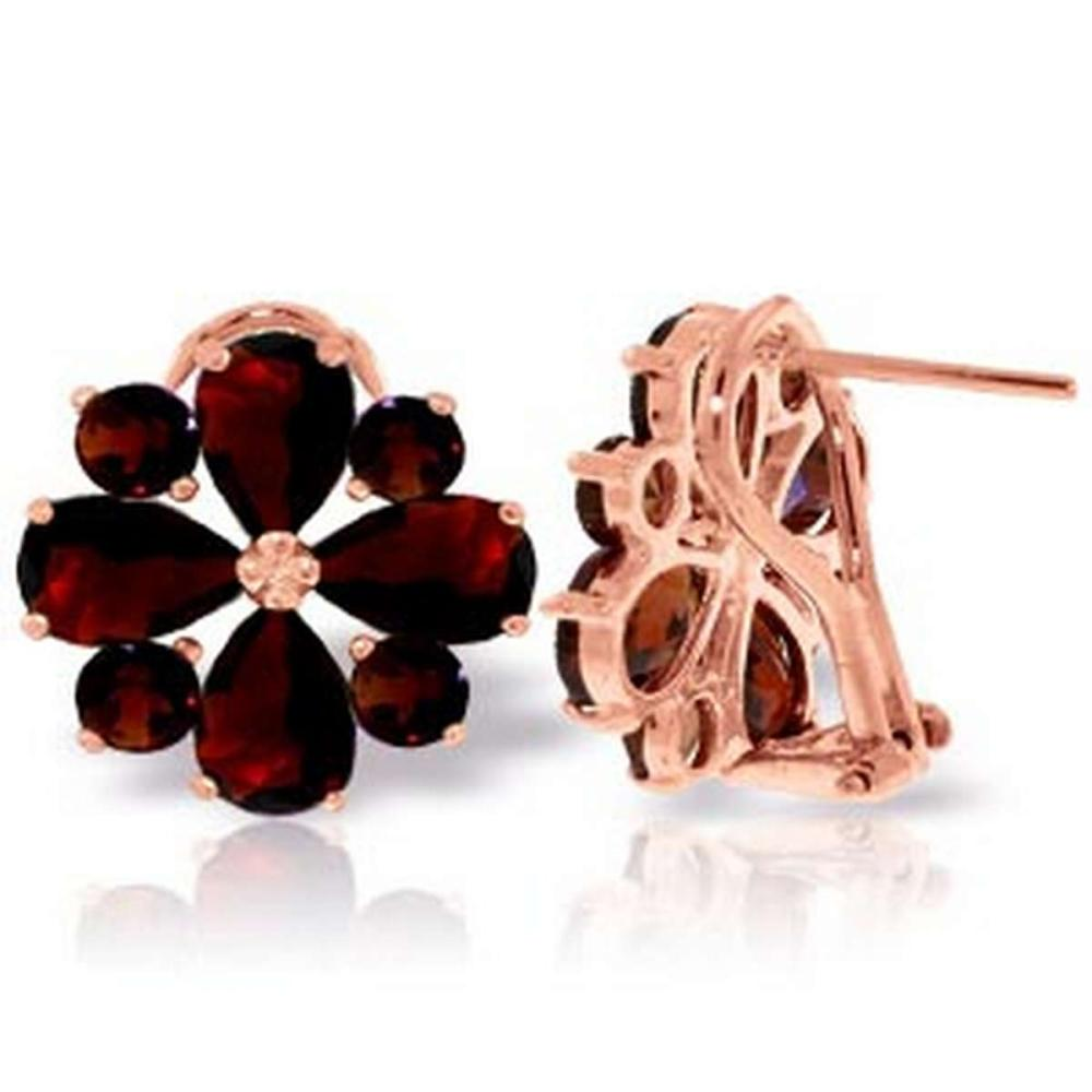 4.85 Carat 14K Solid Rose Gold Flower Garnet Clip Earrings