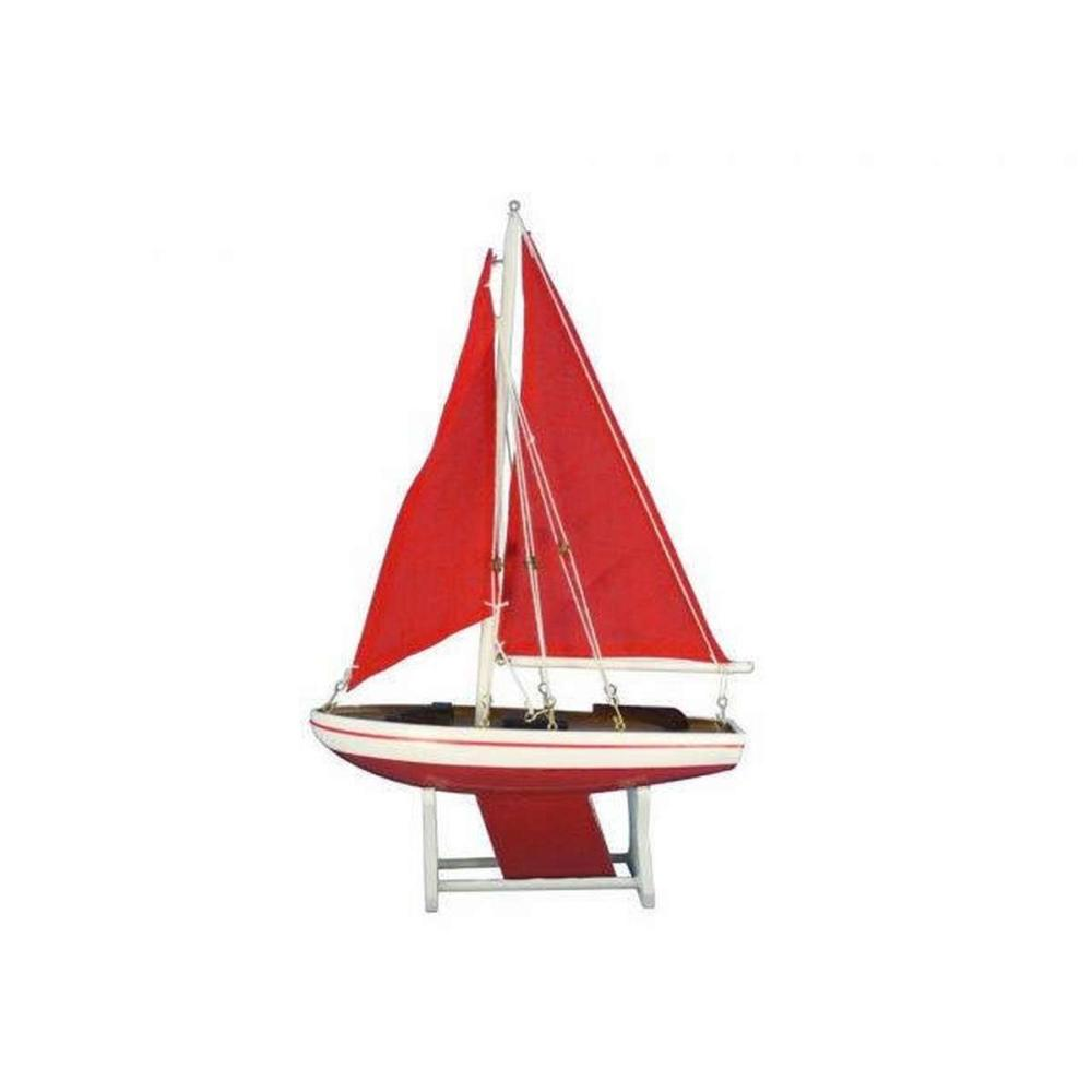 Wooden It Floats 12in. - Red with Red Sails Floating Sailboat Model