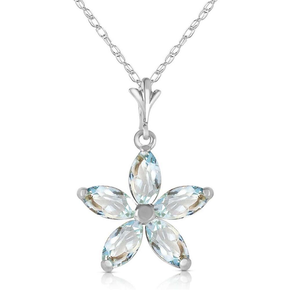 1.4 CTW 14K Solid White Gold Missouri Aquamarine Necklace