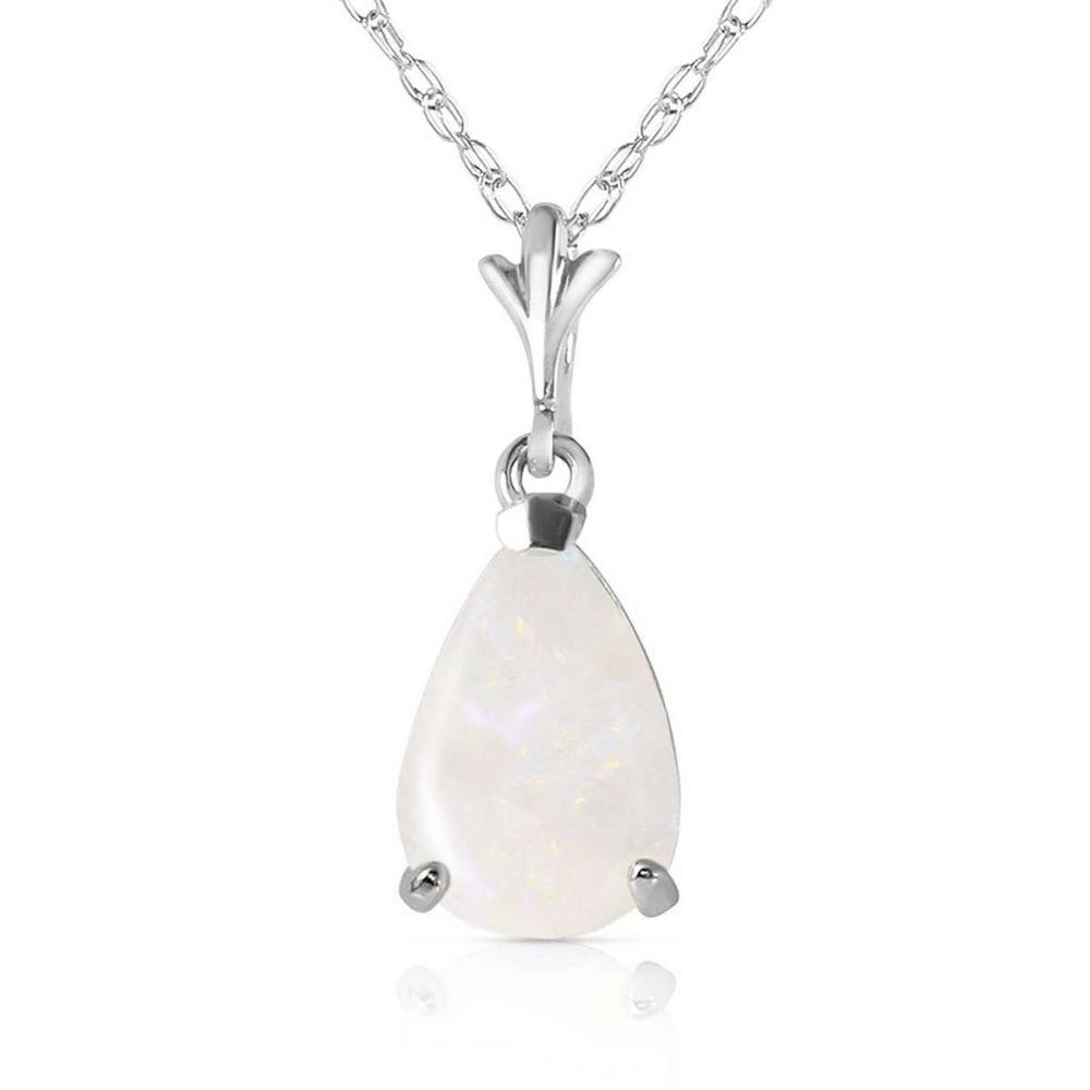 0.77 Carat 14K Solid White Gold Necklace Natural Opal