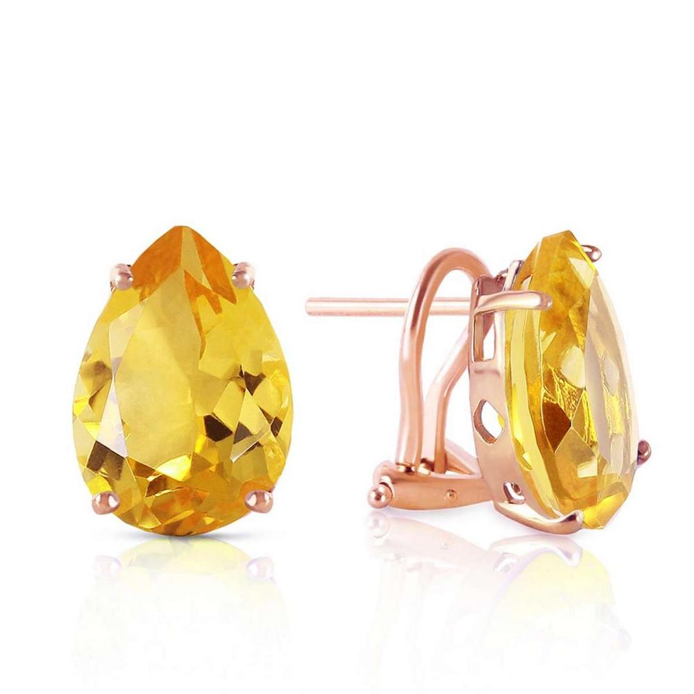 10 CTW 14K Solid Rose Gold pearll Shape Citrine Earrings