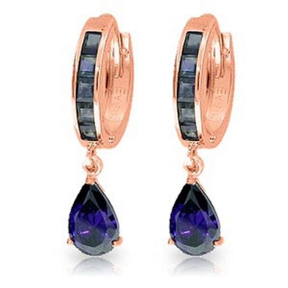 4.55 Carat 14K Solid Rose Gold Hoop Huggie Earrings Sapphire
