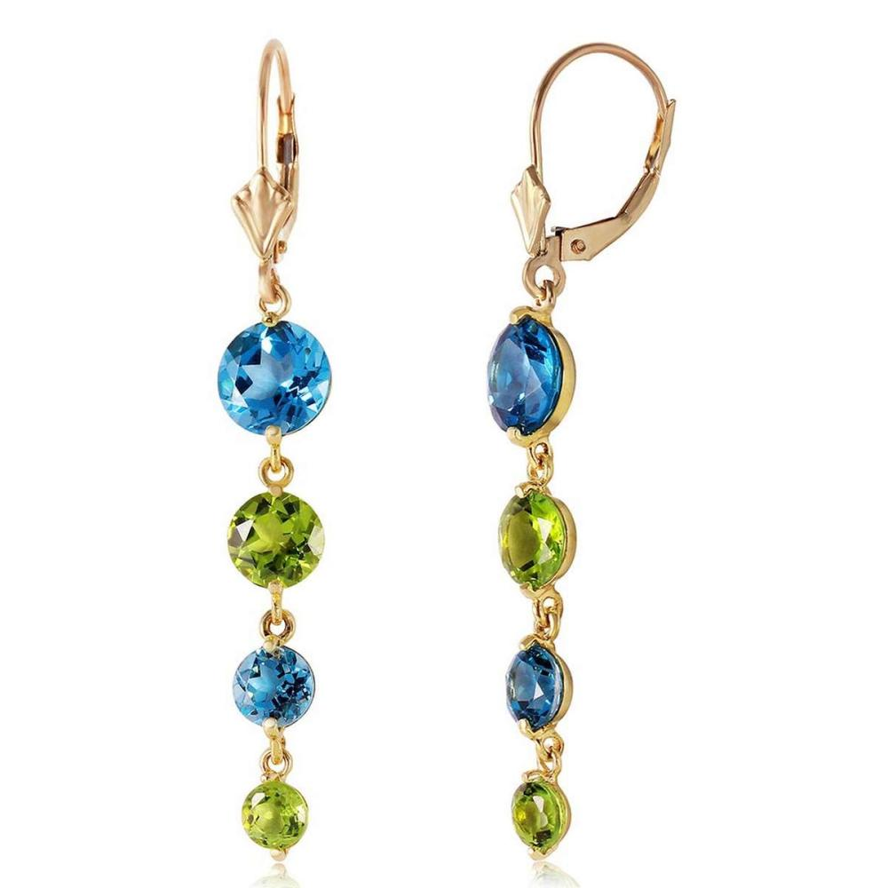 7.8 CTW 14K Solid Gold Drizzle Blue Topaz Peridot Earrings