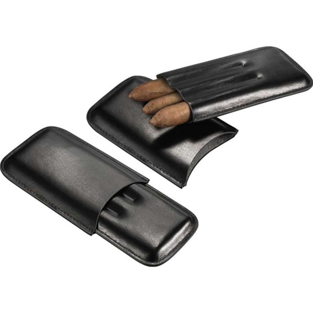 Malfoy Black Leather 3 Finger Cigar Case