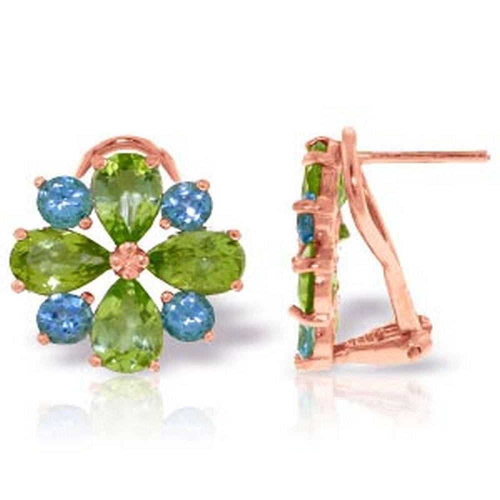 4.85 Carat 14K Solid Rose Gold French Clips Earrings Peridot Blue Topaz