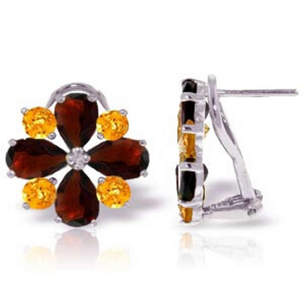 4.85 CTW 14K Solid White Gold French Clips Earrings Garnet Citrine